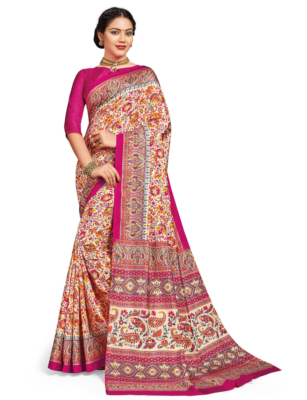 Multi Color Crepe Daily Wear Printed Sarees NYF-7789