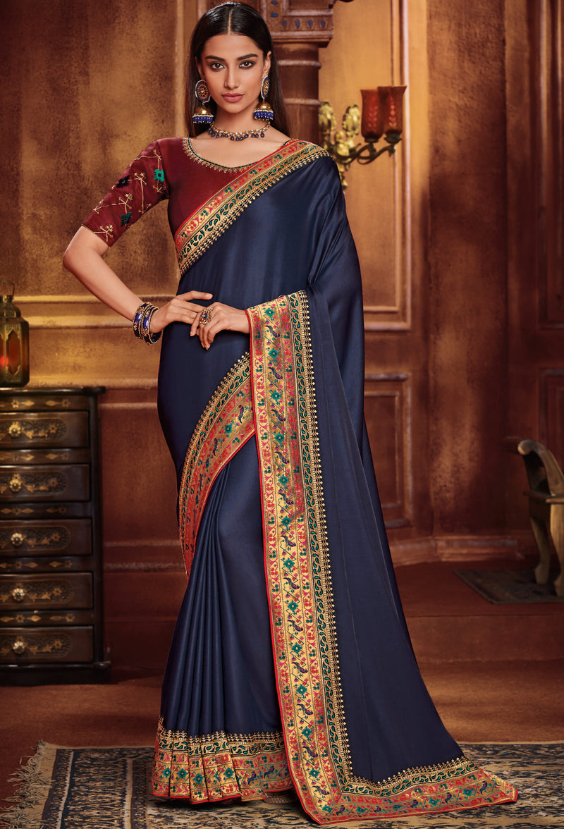 Blue Color Two Tone Silk Gorgeous Festive Sarees NYF-5573