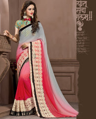 Grey & Pink Color Georgette Festival & Function Wear Sarees : Snehakshi Collection  YF-45636
