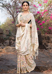 Cream Color Pashmina Silk Designer Party Wear Sarees(With Stole) : Teej Collection  YF-55155
