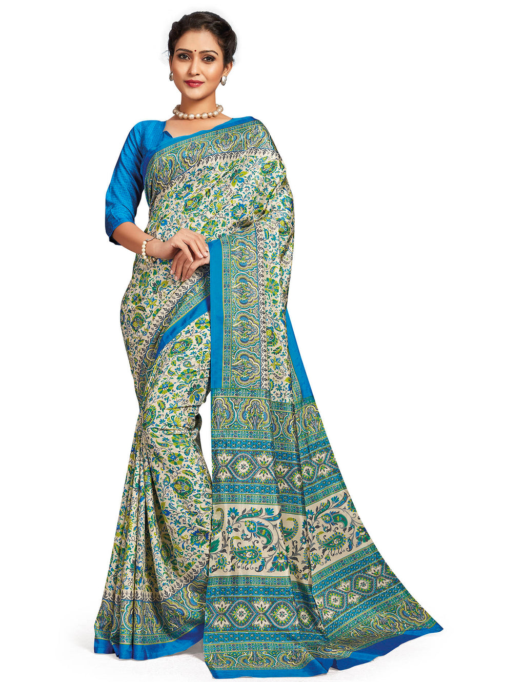 White & Firozi Color Crepe Daily Wear Printed Sarees NYF-7790