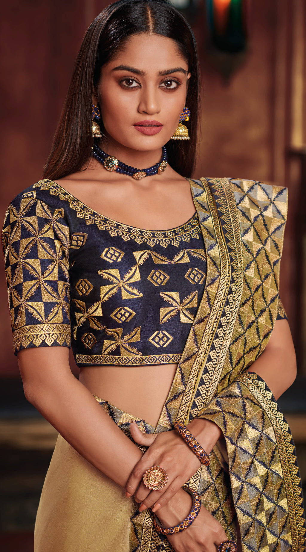 Golden Color Two Tone Silk Gorgeous Festive Sarees NYF-5574