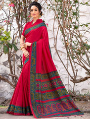 Red Color Pashmina Silk Designer Party Wear Sarees(With Stole) : Teej Collection  YF-55156