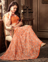 Peach & Orange Color Georgette Floral Printed Sarees : Bhawre Collection  YF-54737