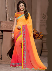 Yellow & Pink Color Georgette Festival & Function Wear Sarees : Snehakshi Collection  YF-45637