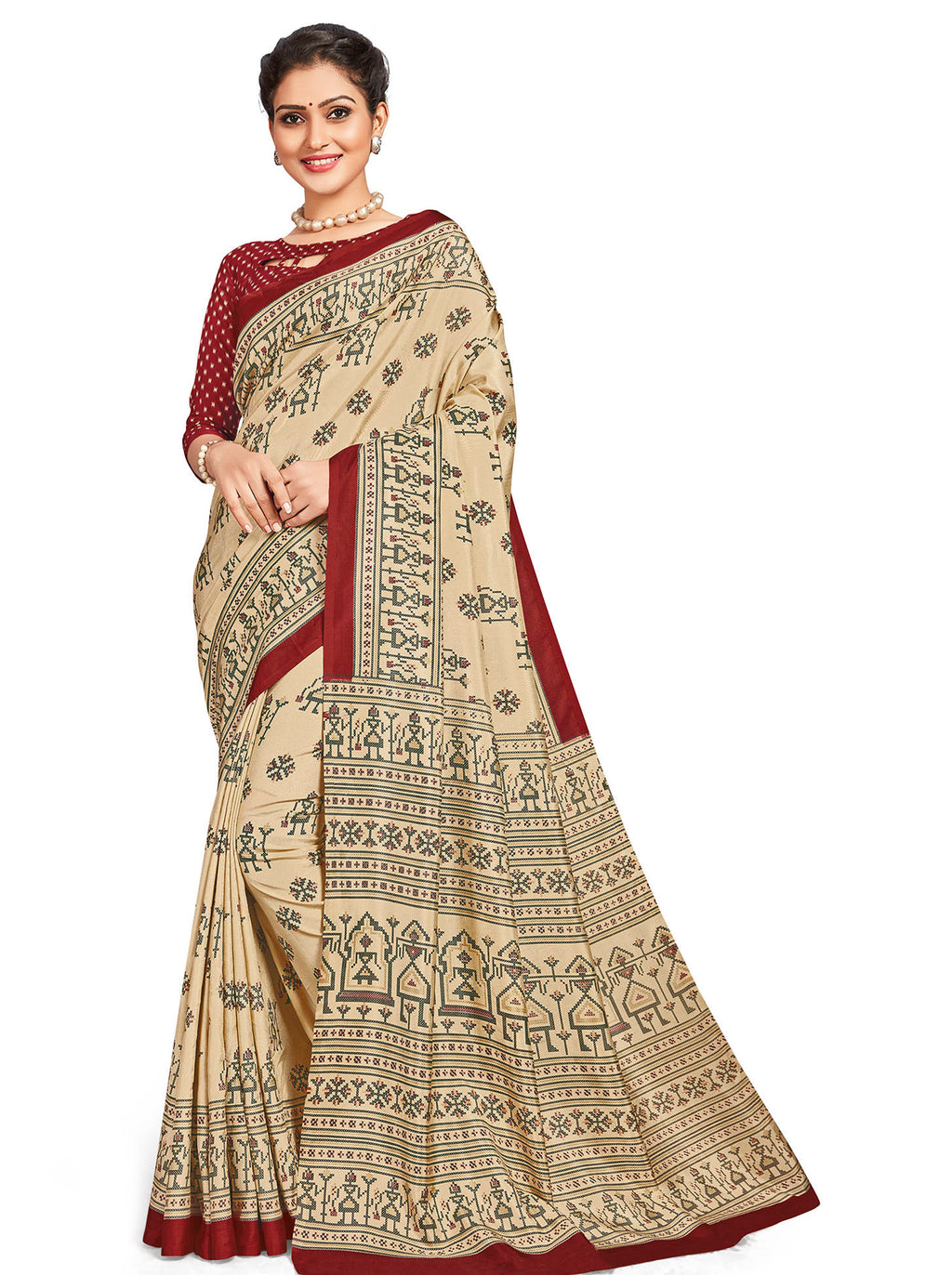 Cream Color Crepe Daily Wear Printed Sarees NYF-7791