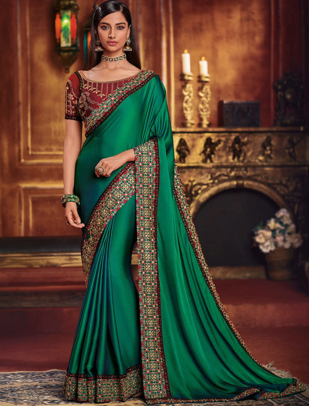 Green Color Two Tone Silk Gorgeous Festive Sarees NYF-5575