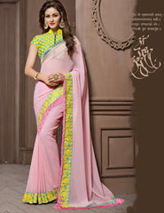 Pink Color Georgette Festival & Function Wear Sarees : Snehakshi Collection  YF-45638