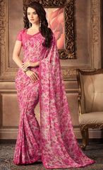 Pink Color Georgette Floral Printed Sarees : Bhawre Collection  YF-54740
