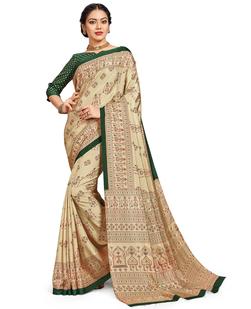 Cream Color Crepe Daily Wear Printed Sarees NYF-7792