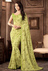 Lemon Green Color Georgette Floral Printed Sarees : Bhawre Collection  YF-54741