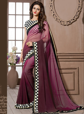 Light & Dark Purple Color Georgette Festival & Function Wear Sarees : Snehakshi Collection  YF-45639