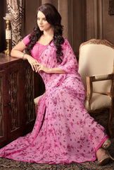 Pink Color Georgette Floral Printed Sarees : Bhawre Collection  YF-54742