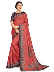 Orange & Pink Color Tusser Jacquard Brasso Festive & Party Wear Sarees : Somisha Collection  YF-53447