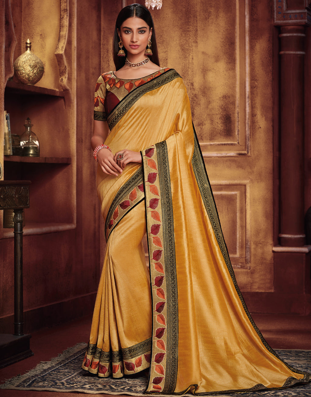 Yellow Color Two Tone Silk Gorgeous Festive Sarees NYF-5577
