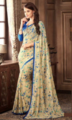 Cream & Blue Color Georgette Floral Printed Sarees : Bhawre Collection  YF-54743