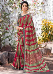 Red & Green Color Pashmina Silk Designer Party Wear Sarees(With Stole) : Teej Collection  YF-55159