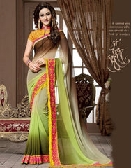 Brown & Green Color Georgette Festival & Function Wear Sarees : Snehakshi Collection  YF-45640