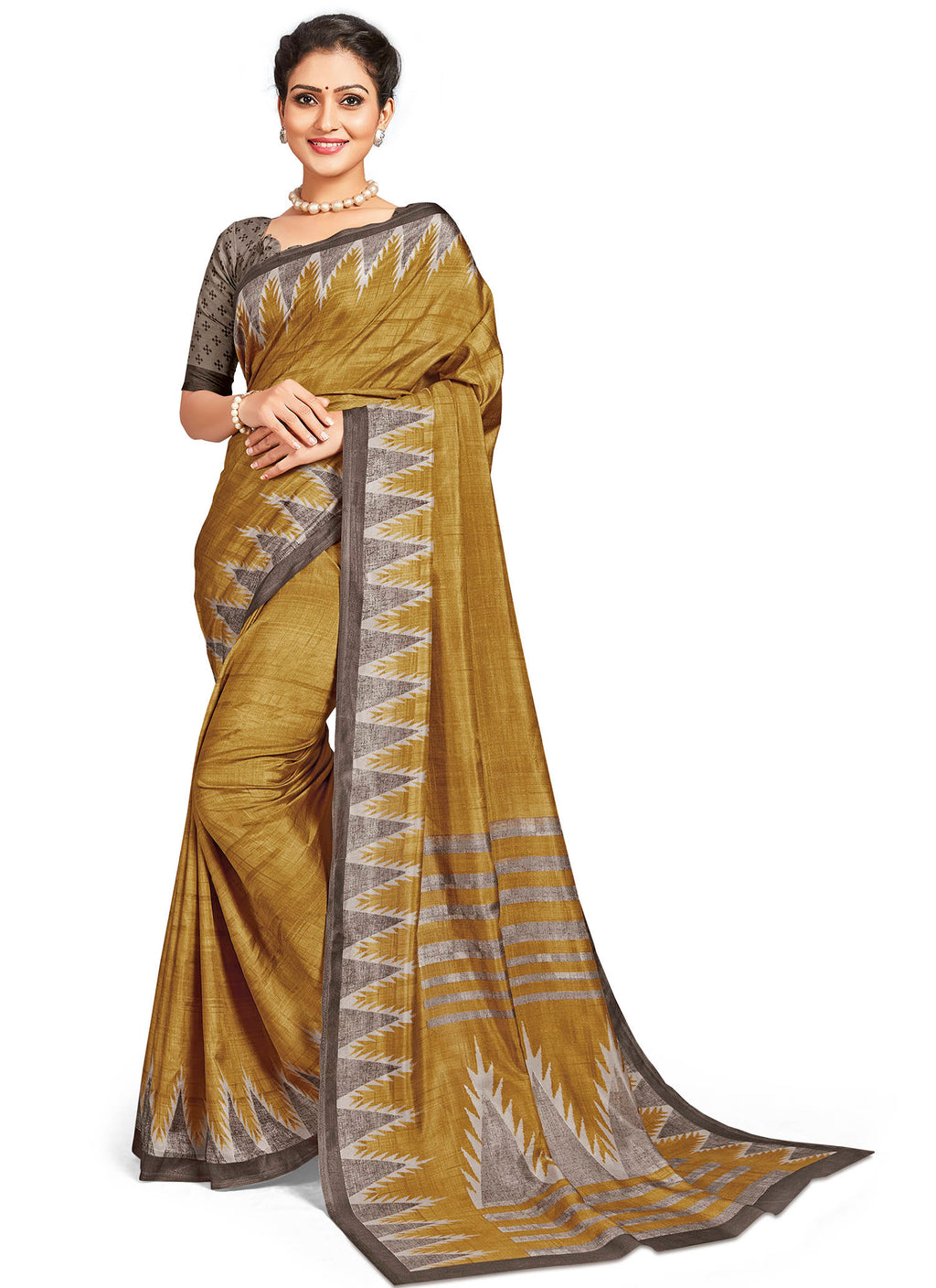 Light Coffee Color Crepe Daily Wear Printed Sarees NYF-7794