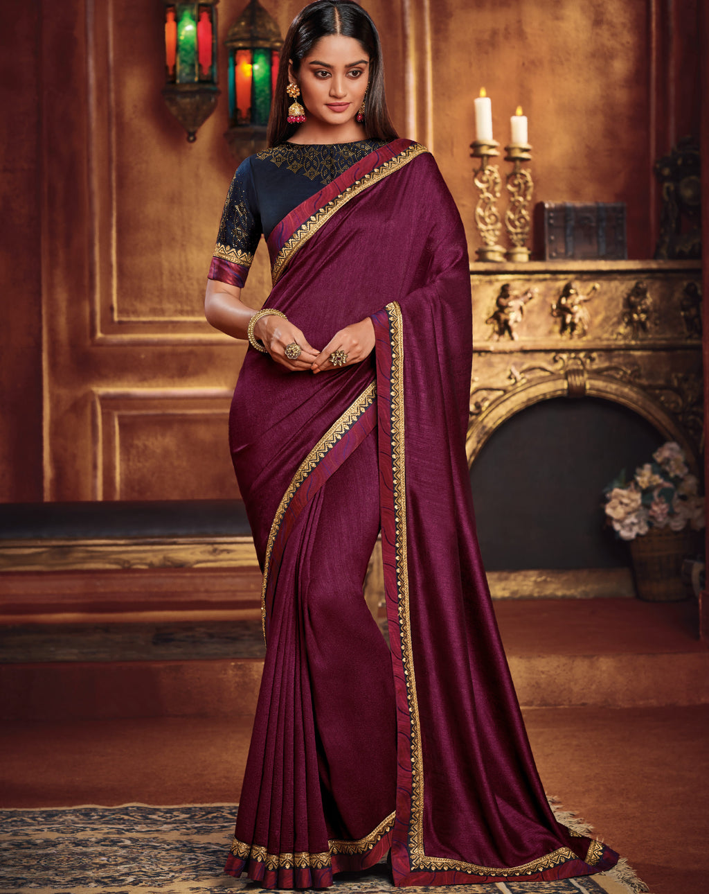 Magenta Color Two Tone Silk Gorgeous Festive Sarees NYF-5578