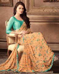 Light Orange Color Georgette Floral Printed Sarees : Bhawre Collection  YF-54745