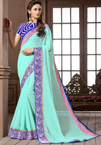 Ocean Blue Color Georgette Festival & Function Wear Sarees : Snehakshi Collection  YF-45641