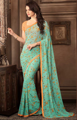 Sea Green Color Georgette Floral Printed Sarees : Bhawre Collection  YF-54746