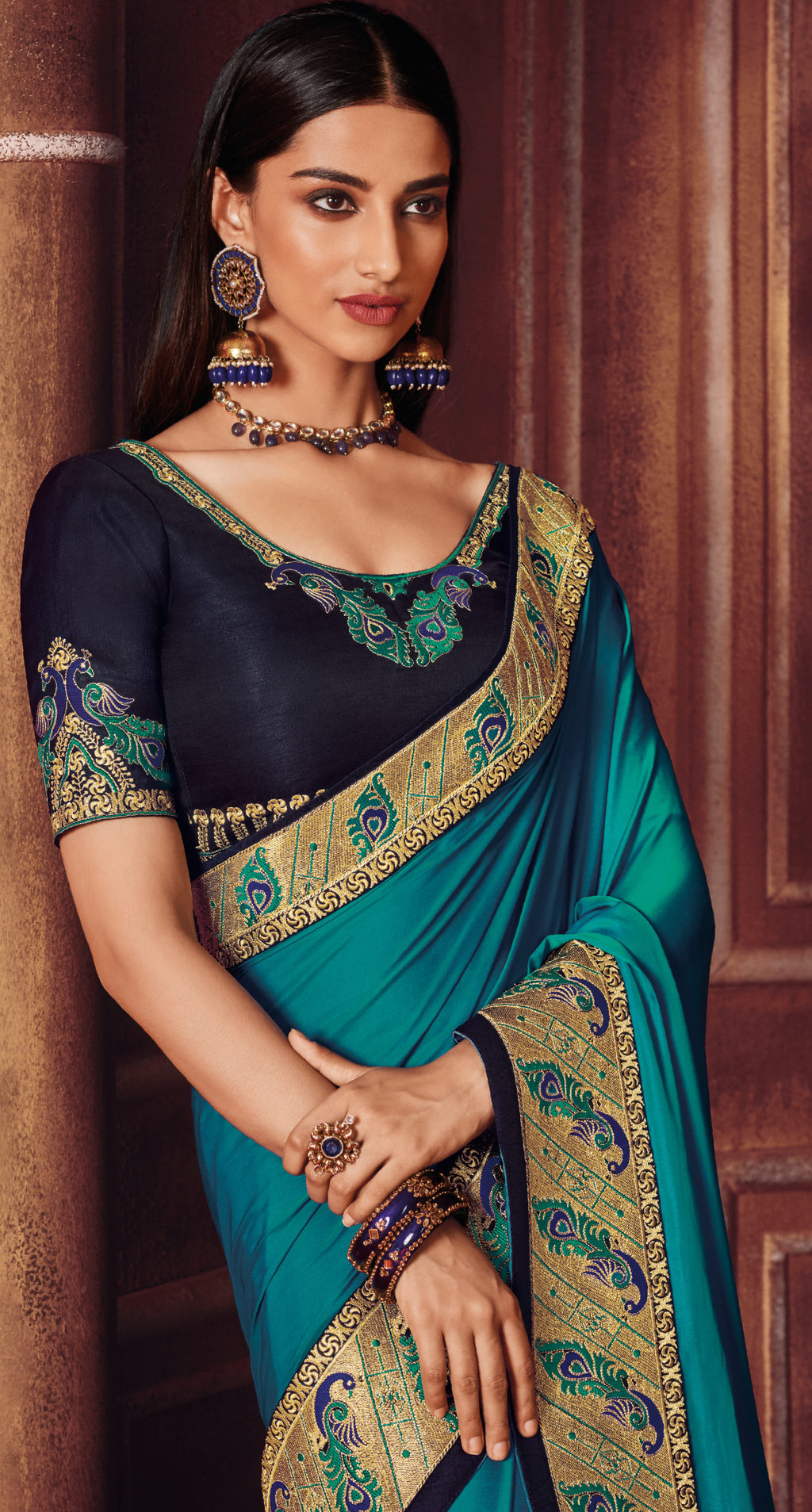 Firozi Color Two Tone Silk Gorgeous Festive Sarees NYF-5579