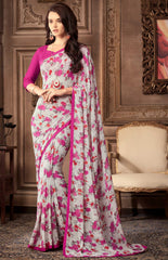 Ash Grey & Pink Color Georgette Floral Printed Sarees : Bhawre Collection  YF-54747