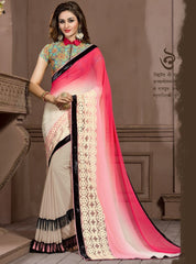 Shades Of Pink Color Georgette Festival & Function Wear Sarees : Snehakshi Collection  YF-45642