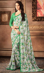 Ash Grey & Green Color Georgette Floral Printed Sarees : Bhawre Collection  YF-54748