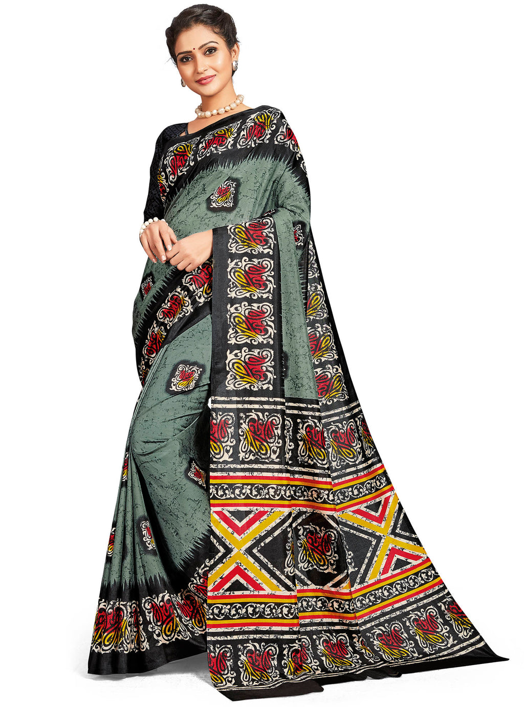 Grey Color Crepe Daily Wear Printed Sarees NYF-7796