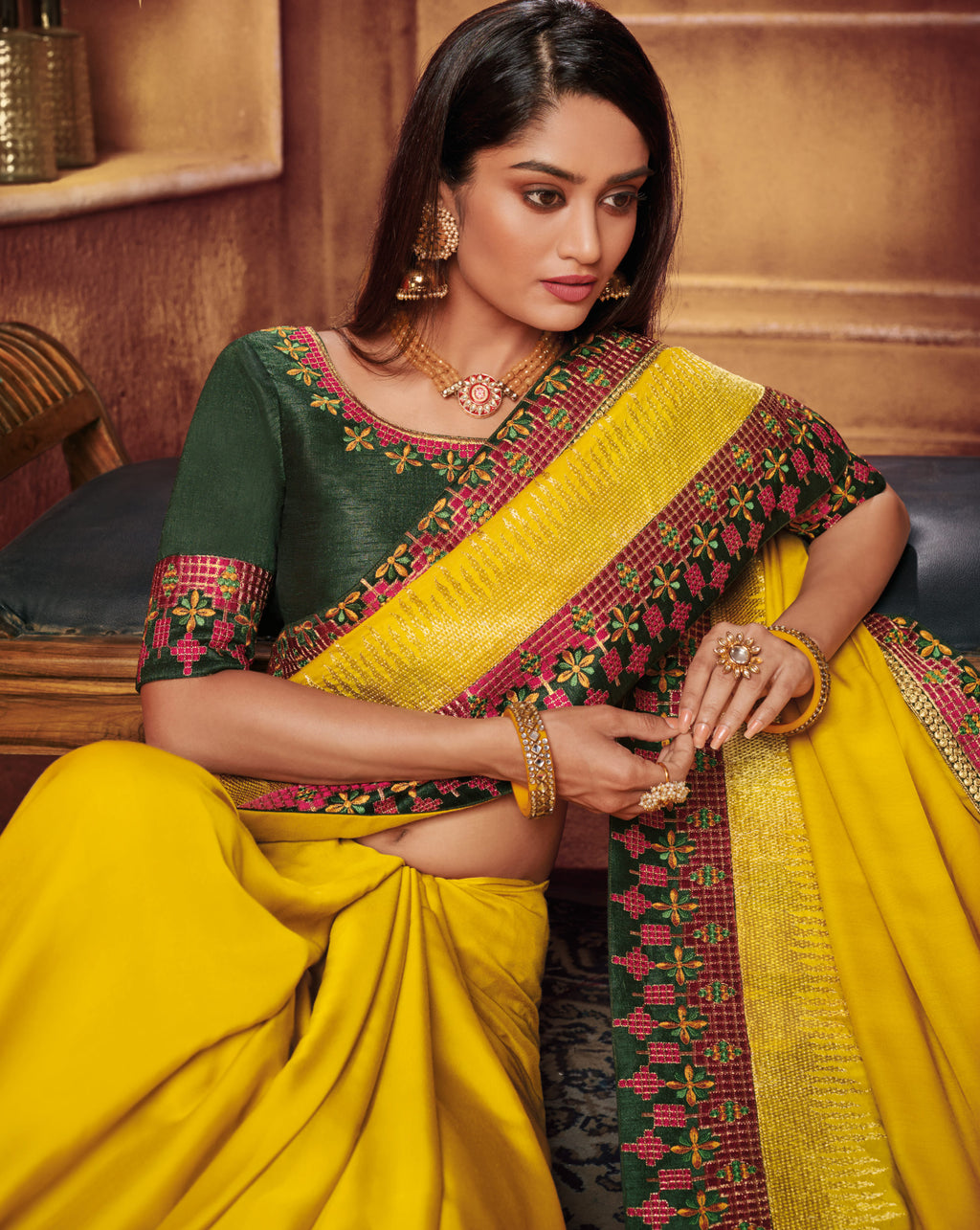 Yellow Color Two Tone Silk Gorgeous Festive Sarees NYF-5580