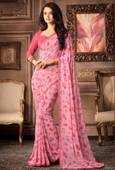 Pink Color Georgette Floral Printed Sarees : Bhawre Collection  YF-54749