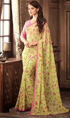 Lemon Yellow Color Georgette Floral Printed Sarees : Bhawre Collection  YF-54750