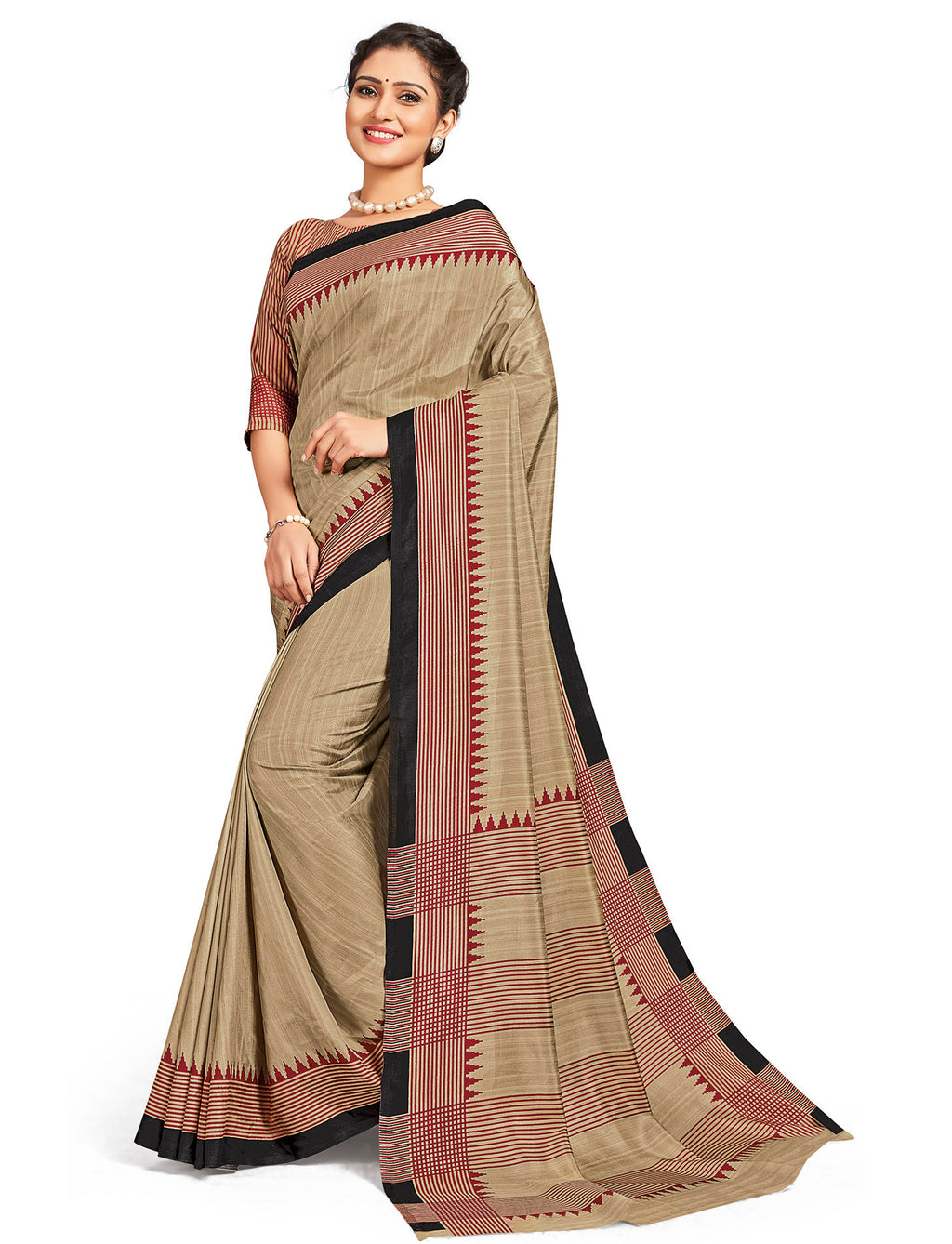 Beige Color Crepe Daily Wear Printed Sarees NYF-7797