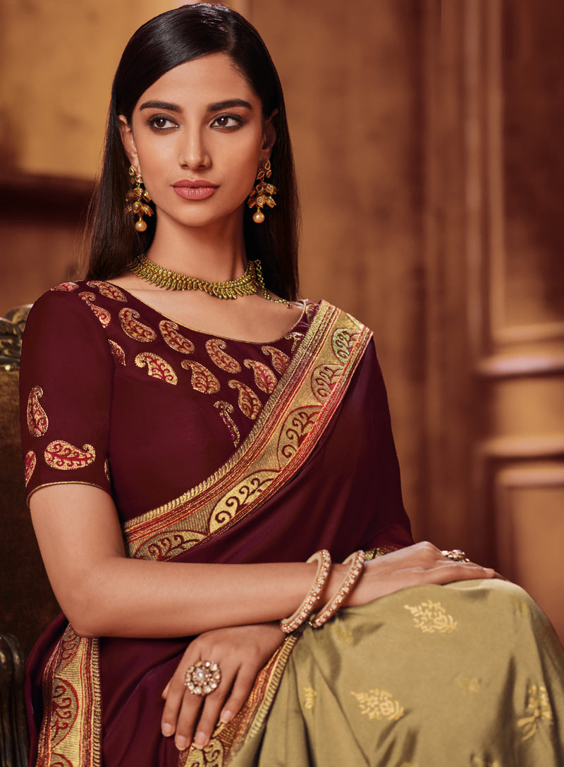 Golden & Maroon Color Two Tone Silk Gorgeous Festive Sarees NYF-5581