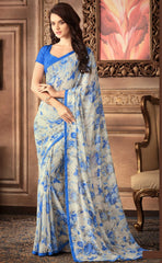 Cream & Blue Color Georgette Floral Printed Sarees : Bhawre Collection  YF-54751