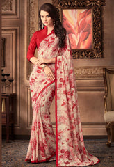 Cream & Red Color Georgette Floral Printed Sarees : Bhawre Collection  YF-54752