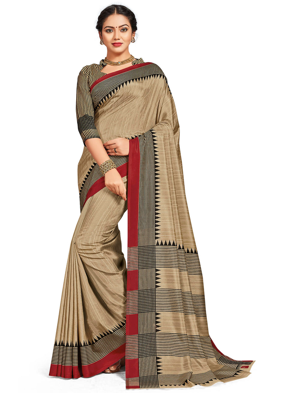 Beige Color Crepe Daily Wear Printed Sarees NYF-7798