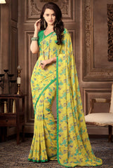 Yellow Color Georgette Floral Printed Sarees : Bhawre Collection  YF-54753