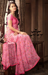 Pink Color Georgette Floral Printed Sarees : Bhawre Collection  YF-54754