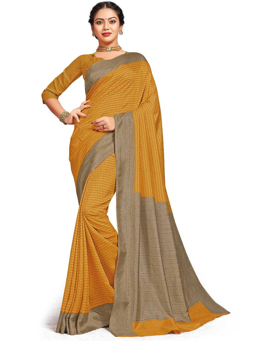 Yellow Color Crepe Daily Wear Printed Sarees NYF-7799