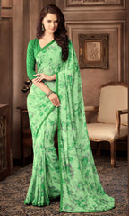 Green Color Georgette Floral Printed Sarees : Bhawre Collection  YF-54755