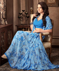 Sky Blue Color Georgette Floral Printed Sarees : Bhawre Collection  YF-54756