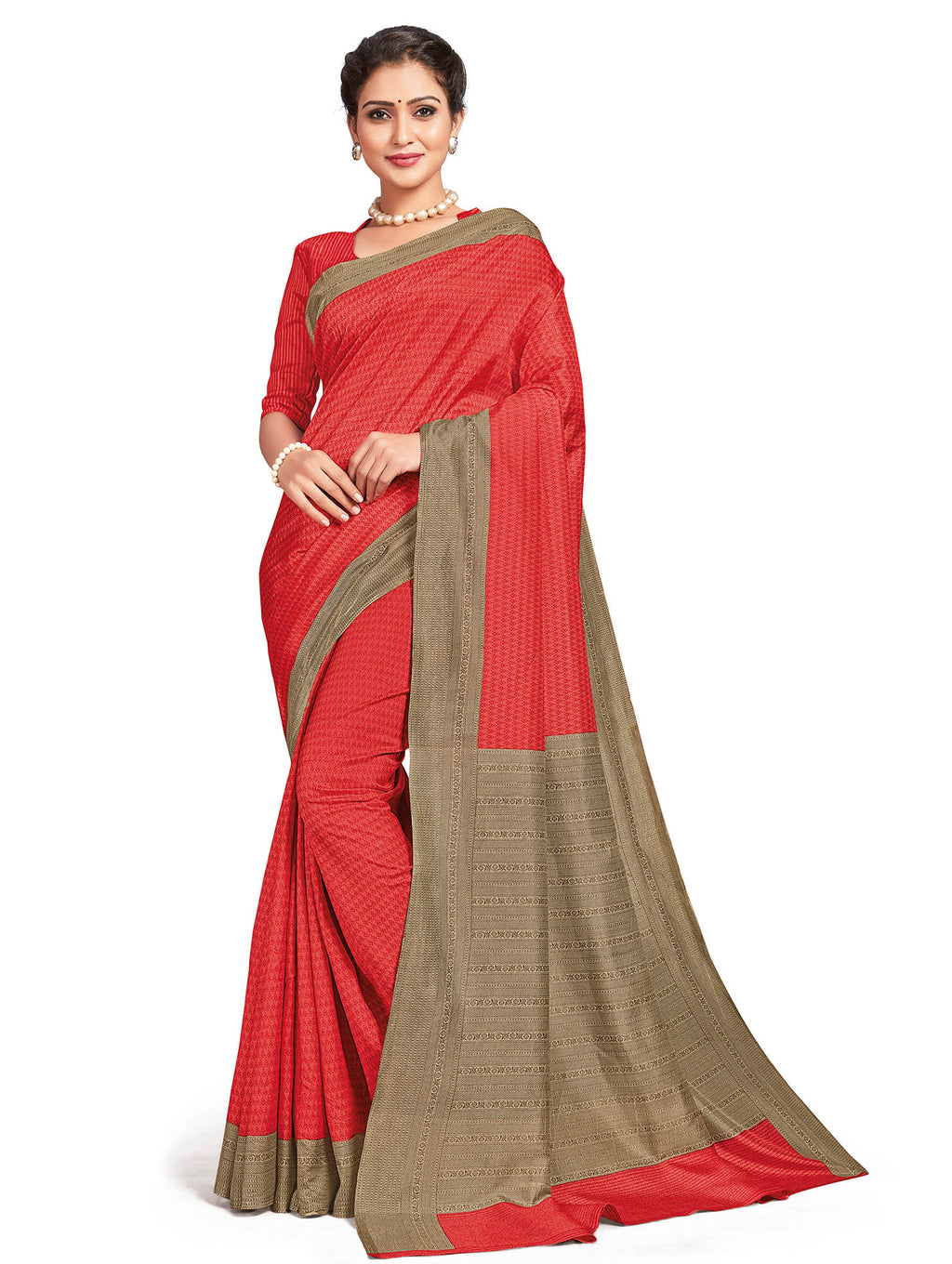 Pink Color Crepe Daily Wear Printed Sarees NYF-7800