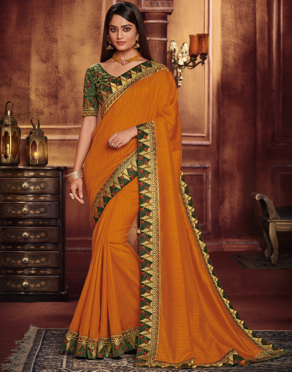 Mustard Yellow Color Two Tone Silk Gorgeous Festive Sarees NYF-5584