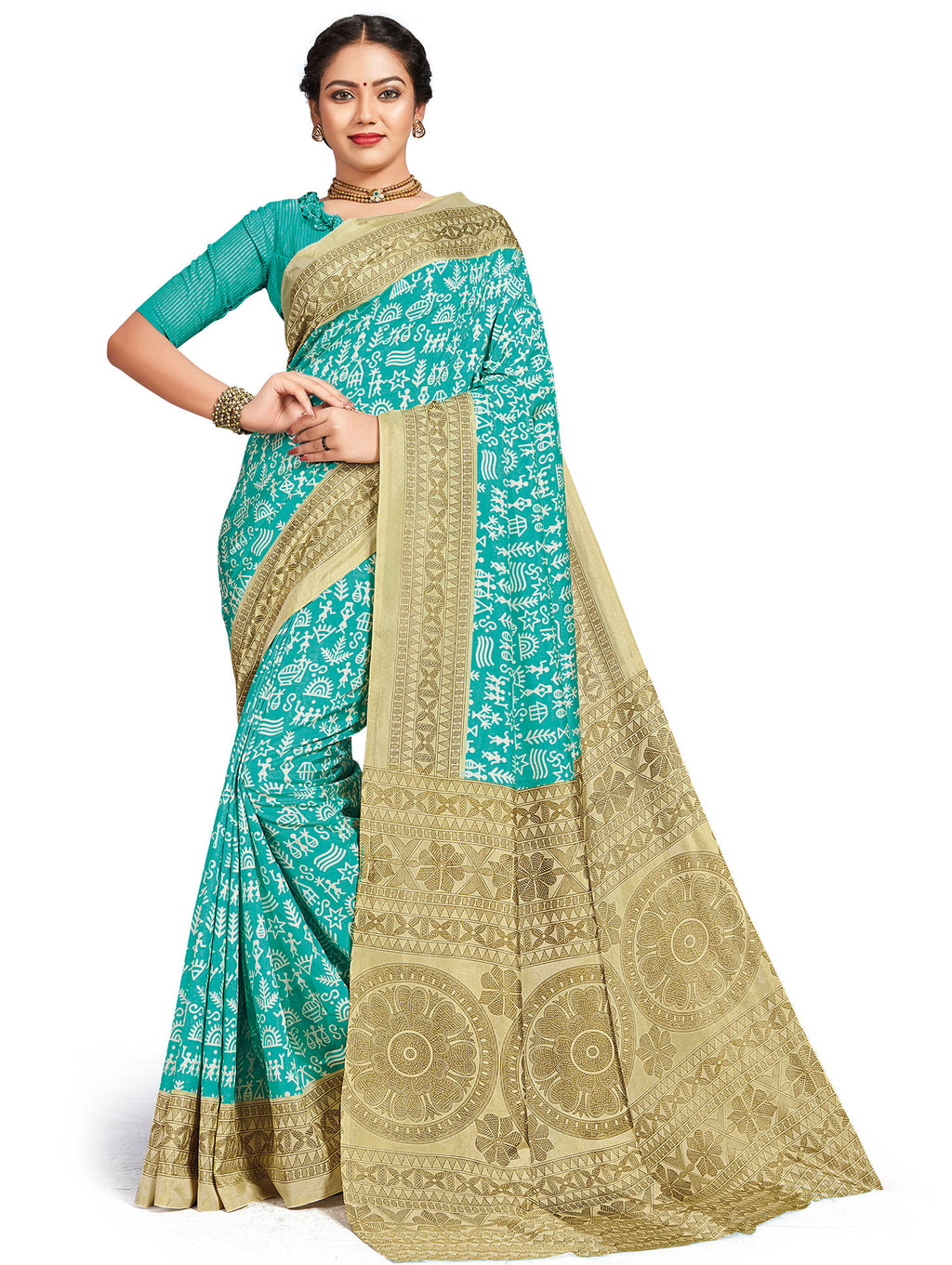Aqua Blue Color Crepe Daily Wear Printed Sarees NYF-7801