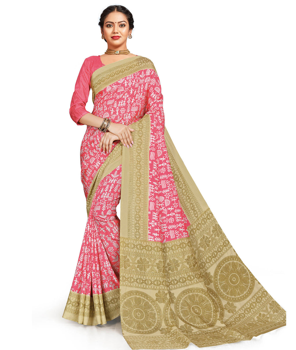 Pink Color Crepe Daily Wear Printed Sarees NYF-7802