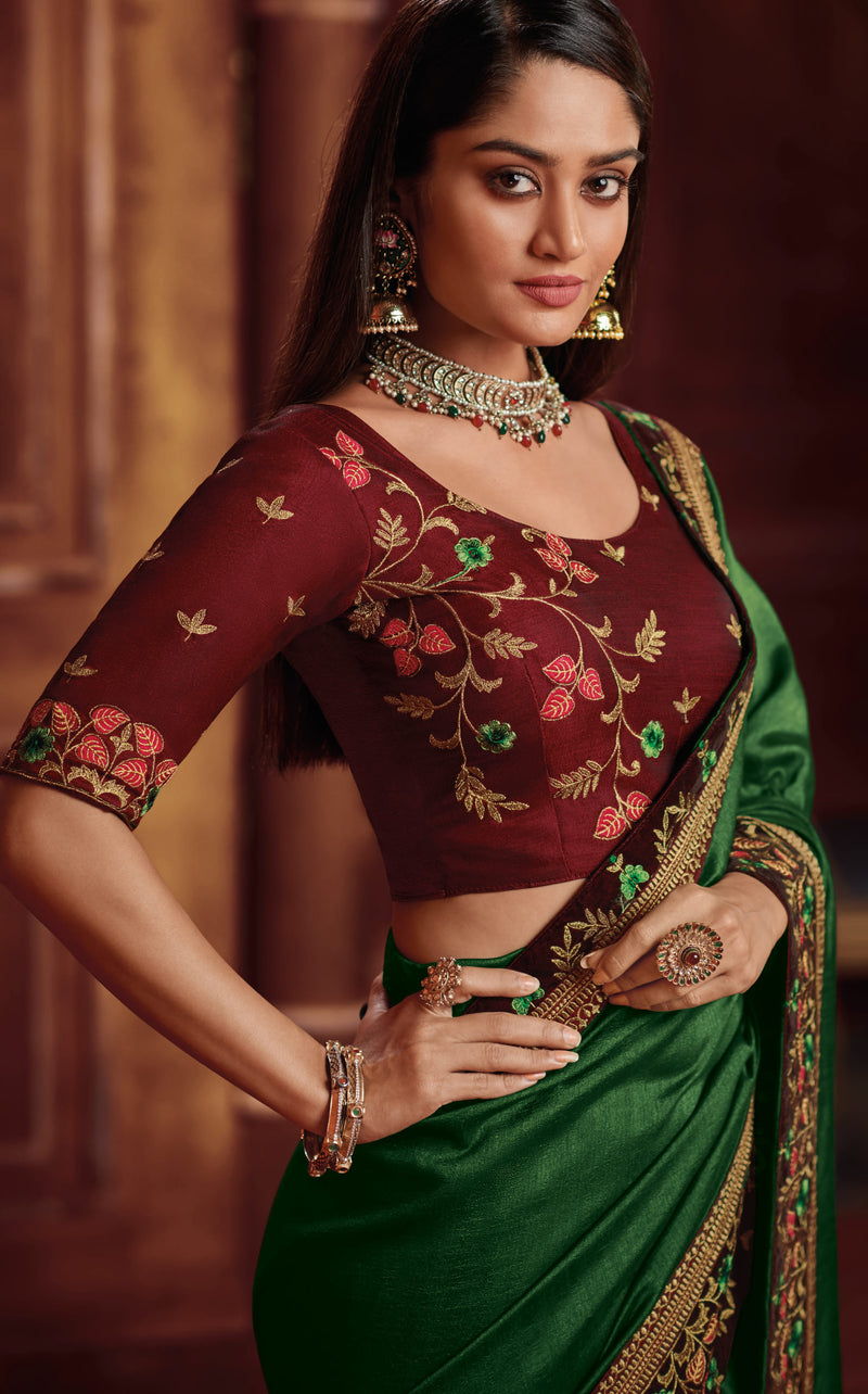 Green Color Two Tone Silk Gorgeous Festive Sarees NYF-5586